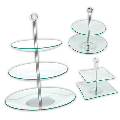 2 or 3 TIER GLASS ROUND SQUARE CAKE STAND SERVING DISPLAY FOOD WEDDING PLATE