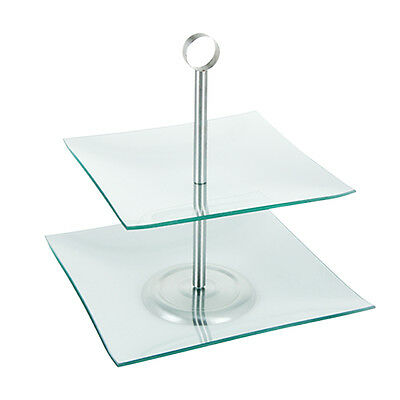 2 Tier Glass Square Cake Stand Serving Display Food Wedding Plate Table Decor