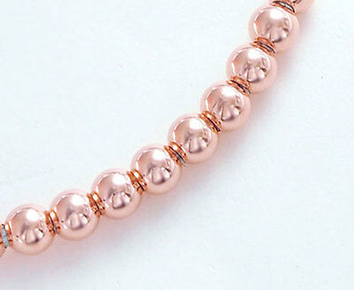 925 Sterling Silver Rose Gold Vermeil Style 10 Round Seed Beads 4 mm.