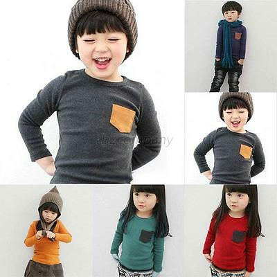 Kids Baby Girl Boys Long Sleeve T-Shirt Cotton Round Neck Tee Shirt Tops 2-7Y