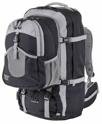 Explore Planet Earth Scorpius 75L Travel Backpack & Zipoff Daypack - BLACK
