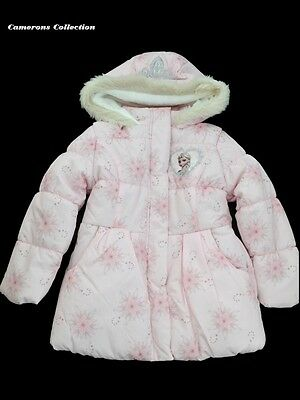 EX- Disney Lovely Girls FROZEN BABY PINK Padded Jacket/Coat Ages 6-7 8-9 10-11
