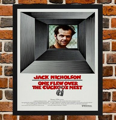 Framed One Flew Over the Cuckoo's Nest Movie Poster A4 / A3 Size In Black Frame