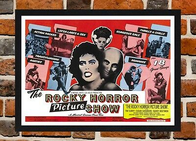 Framed The Rocky Horror Picture Show Movie Poster A4 / A3 Size In Black Frame .