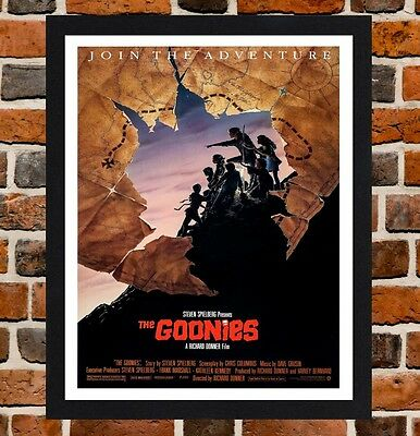Framed The Goonies Movie Poster A4 / A3 Size Mounted n Black / White Frame