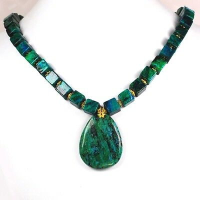 """Pretty Blue/Green Chrysocolla Cubed Beads Necklace w/Gold Toggle 19.5"""""""