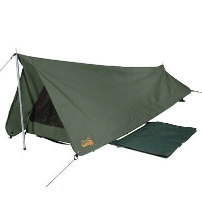 Sahara Rover Deluxe King Single Apex Traditional Canvas Swag and Bag