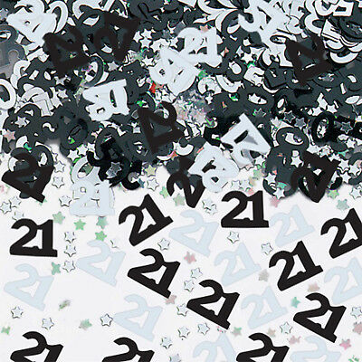 Black & Silver 21st Birthday Party Table Confetti Decorations Age 21 Sprinkles