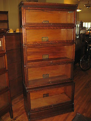 Antique Globe Wernicke Mission Oak 5 Stack Barrister Bookcase Book Shelf Cabinet