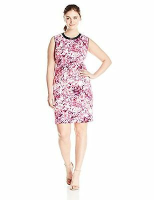 Lark & Ro Womens Printed Scuba Sheath Dress Pink Brand New Assorted Plus Sizes