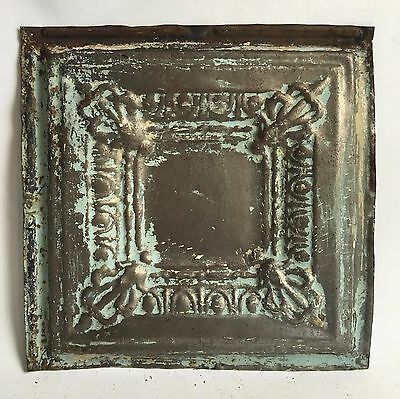 "1890's Reclaimed 12"" x 12"" Antique Tin Ceiling Tile Verdigris B96 Anniversary"