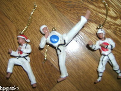 Free ship Sparring boys Martial Arts Ornaments Martial Arts TaeKwonDo Karate - SET OF 3 Boy Martial Arts Christmas Ornaments Martial Arts TaeKwonDo