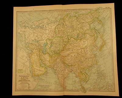 Asia China Russia India 1897 detailed vintage old color map