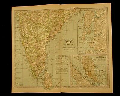 southern India Bombay Malay peninsula Ceylon 1897 detailed vintage old color map