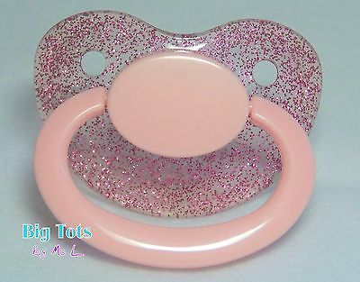 Adult Baby * BLING BABY PACI large pacifier spkP/pink/pinkBig Tots abel