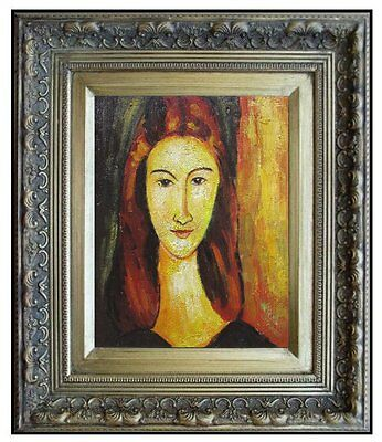 Framed Modigliani's Portrait of Jeanne Repro, Hand Painted Oil Painting, 8x10in