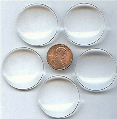 6 VINTAGE CLEAR CRYSTAL ACRYLIC LUCITE 30mm. ROUND MAGNIFYING LENS Z811