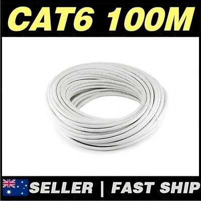 1x White 100M CAT6 UTP STRANDED CCA Core Network Ethernet LAN Cable Roll