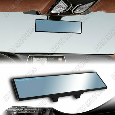 Wide Flat Blue Tint Interior JDM CLIP ON Style Universal 300MM Rear View Mirror