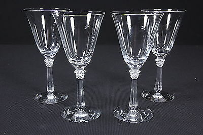 "4 Crystal Water Goblets Spiked Stem Flared Bowl 9 Oz 7 1/2"" T Contemporary Glass"