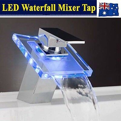 Bathroom Square Vanity Glass Waterfall LED Light Sink Basin Mixer Tap Faucet AU