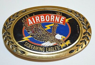 Vintage AIRBORNE Screaming Eagles US ARMY Solid Brass Belt Buckle RARE MINT