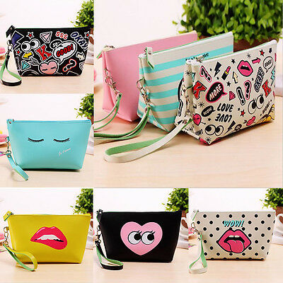 Women Girls PU Student Pen Pencil Case Cosmetic Travel Makeup Bag Stationery Hot