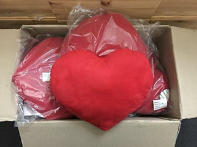 Job lot of red heart cushions, ideal for printing or embroidery