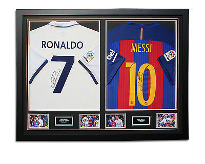 Cristiano Ronaldo & Lionel Messi 2015/2016 Signed Dual Framed Shirts Display