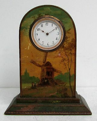 "VERY NICE 19th CENTURY DUTCH WINDMILL HAND PAINTED 4"" MINIATURE WOOD CLOCK"