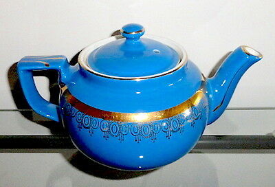Hall China BOSTON Blue w/ Gold Decoration 6 Cup Teapot & Lid