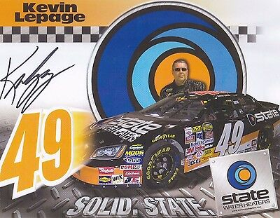 Kevin Lepage Solid State Water Heaters NASCAR Racing Autographed Photo