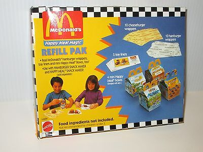 McDONALD'S HAPPY MEAL MAGIC MATTEL REFILL PACK LINERS WRAPPERS MINI BOXES 1993