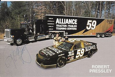Robert Pressley Alliance NASCAR Racing 1993 Autographed Photo Card
