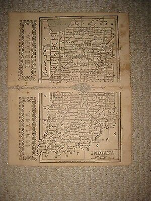 Early Rare Antique 1851 Indiana Map Indianapolis Railroad Detailed Rare Nr