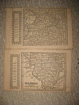 Early Rare Antique 1851 Illinois Map Chicago Railroad Detailed Nr