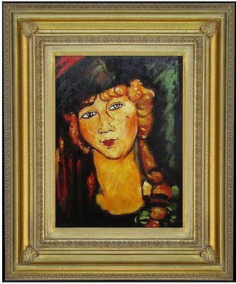 Framed Modigliani Renee the Blonde Repro, Hand Painted Oil Painting, 12x16in