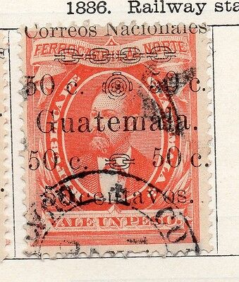 Guatemala 1886 Early Issue Fine Used 50c. Optd Surcharged 087549