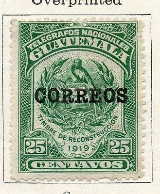 Guatemala 1919 Early Issue Fine Mint Hinged 25c. Optd 087591