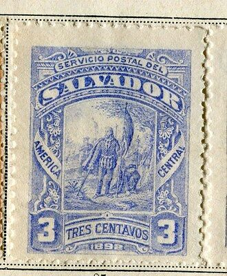 EL SALVADOR;  1892 early classic issue fine Mint hinged 3c. value