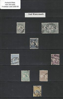 Australia Roos rare 2nd wmk 9 used stamps
