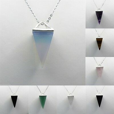 Natural Quartz Crystal Healing Chakra Gemstone Pendant Chain Reiki Necklace 1pc