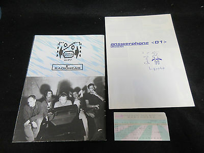 Radiohead 1995 Japan Tour Poster Style Concert Program w Ticket Stub Answerphone