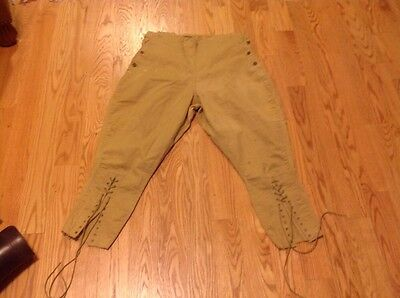Vtg Button KHAKI Kamp-it Trousers PANTS Lace Up Military Or Hunting