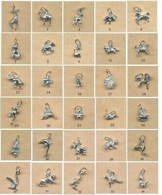 STERLING SILVER CHARMS- Animals, birds, dolphins, creatures- $6.50 to $12