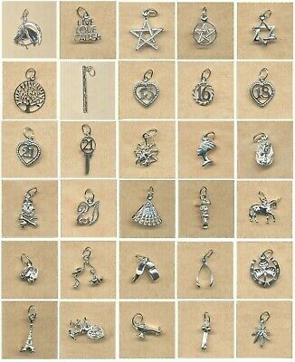 STERLING SILVER CHARMS- Symbols, Good Luck and other- NEW RANGE  $6.50 to $13.00