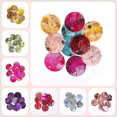 50pcs Perles Rondes Plates Sequins en Coquillage Création 18mm Multicolores