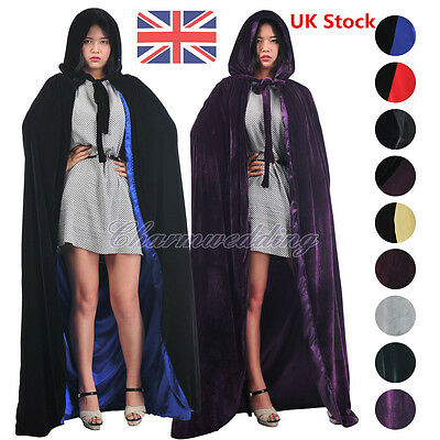 Gothic Velvet Hooded Cloaks Medieval Witch Wicca Halloween Costumes Wedding Cape