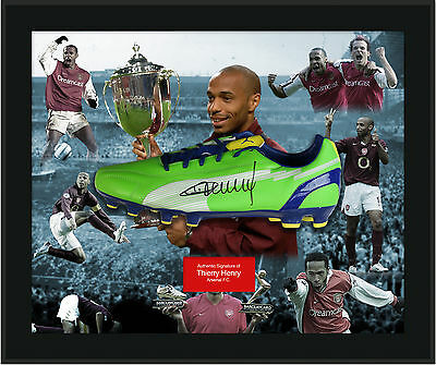 Thierry Henry Signed White boot return to Arsenal with black frame in perspex do