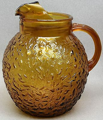 1970's ANCHOR HOCKING MILANO HONEY GOLD AMBER CRINKLE 96 OZ GLASS BALL PITCHER